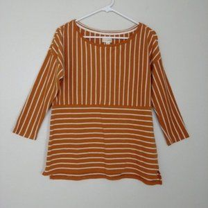 Maison Jules Sweater 3/4 Sleeve Striped Gold #C15